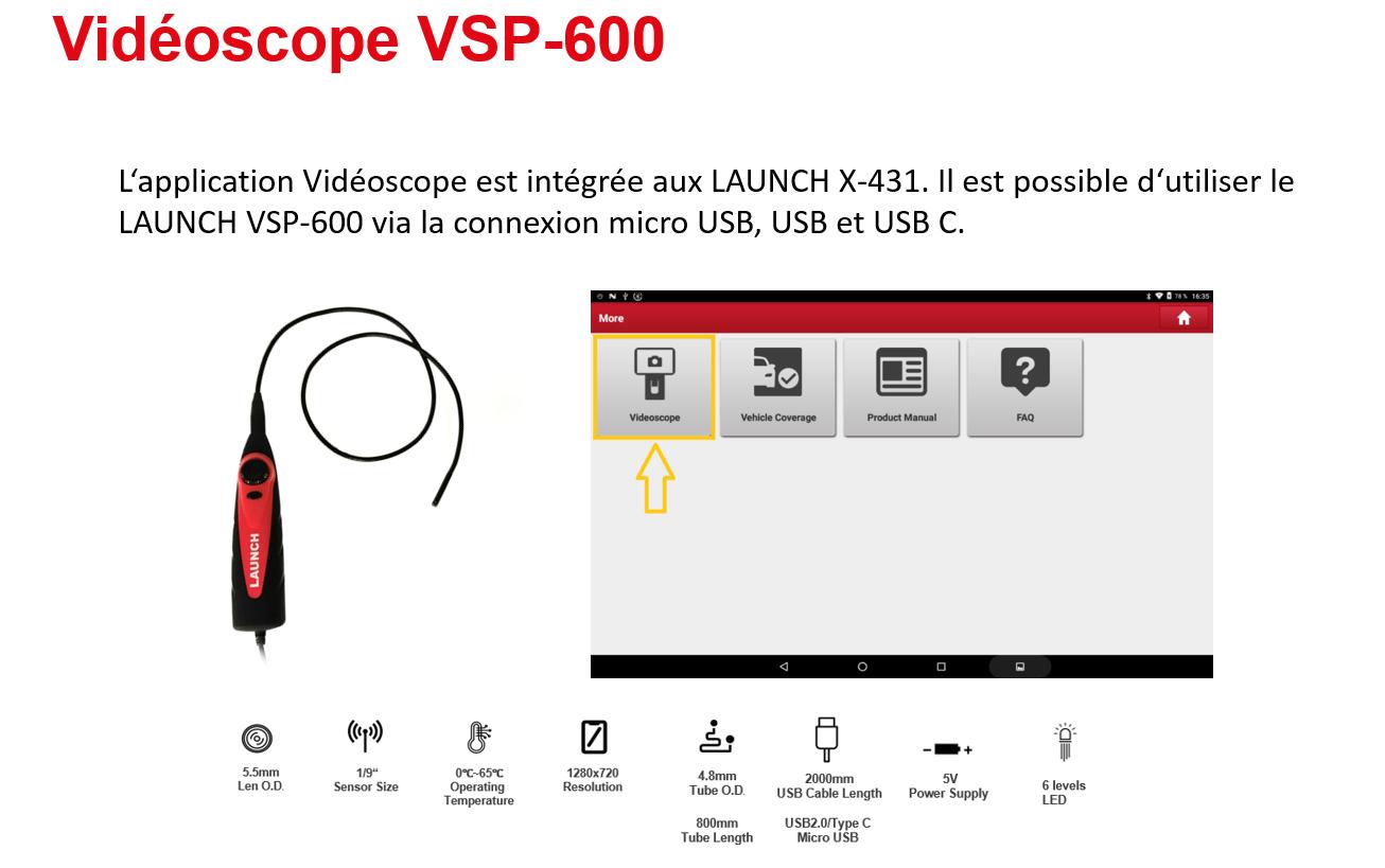 Présentation vidéoscope LAUNCH VSP600